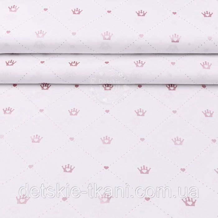 """Поплин шириной 240 см с глиттерным рисунком """"Золотисто-розовые короны в ромбах из точек"""" на белом (№2517)"""