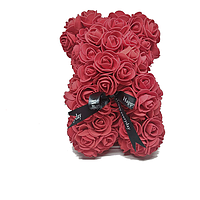 Красивый мишка из латексных 3D роз 40 см с лентой в подарочной коробке | Бордо