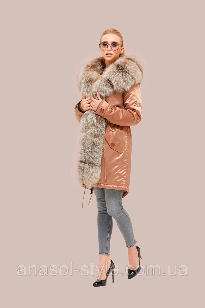Куртка парка зимняя  большого размера  с мехом песца водоотталкиваюшая цвет капучино