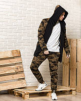 Камуфляжная мантия с капюшоном + камуфляжные спортивные штаны мужские (комплект)