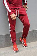 Бордовые  спортивные штаны с лампасами мужские / Мужские спортивные брюки с лампасами весна/лето/осень
