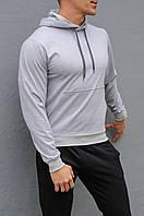 Серая мужская толстовка (худи с капюшоном, кофта, кенгурушка)