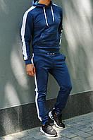 Синяя худи с лампасами (толстовка с капюшоном, кофта, кенгурушка)