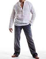 Рубашка свободного покроя льняная. Пляжная льняная рубаха из натурального льна, фото 1
