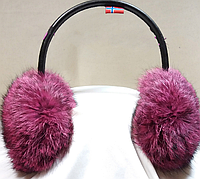 Теплые меховые наушники, натуральный мех, теплые ушки (розовый/черный)