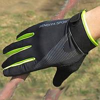 Вело перчатки Sendiya Sport закрытые, черно-зеленые, XL, фото 1