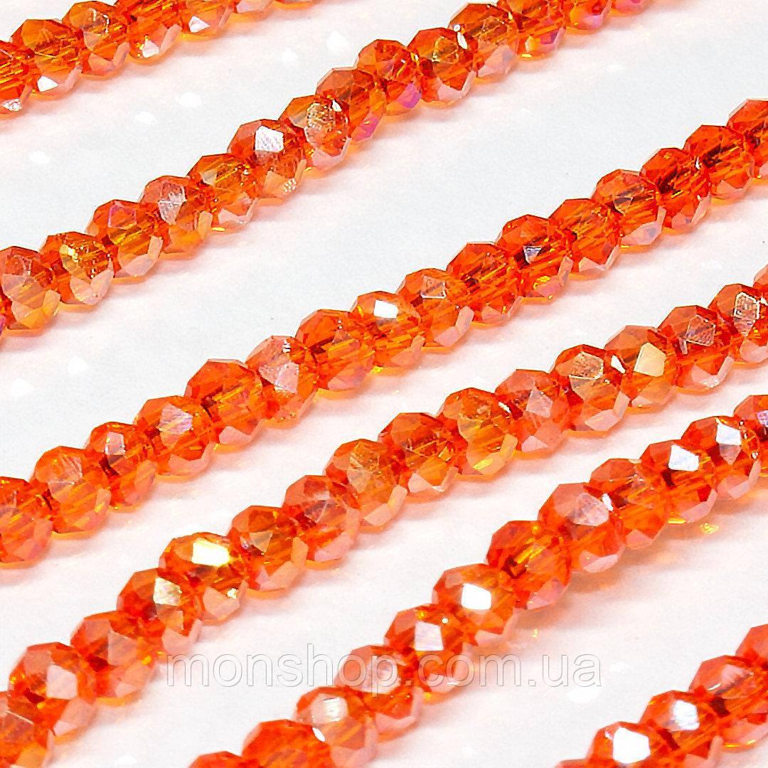 Бусины хрустальные (Рондель) 2х2мм, цвет - оранжевый прозрачный с АБ
