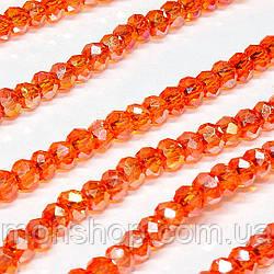 Кришталеві намистини (Рондель) 2х2мм, колір - помаранчевий прозорий з АБ
