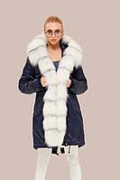 Куртка парка зимняя  большого размера  с мехом песца водоотталкиваюшая темно-синяя