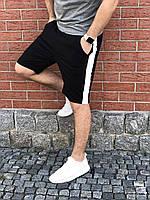 Мужские черные шорты с лампасами / Спортивные шорты на лето