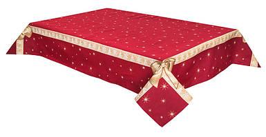 "Скатерть новогодняя гобеленовая ""Подарункова"" красная 137 х 180 см скатертина новорічна червона"