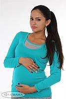 """Облегающий лонгслив для беременных и кормящих """"Layma"""", морская волна с серым меланжем, фото 1"""