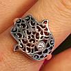 Серебряное кольцо Хамса - Кольцо рука Фатимы из серебра, фото 7