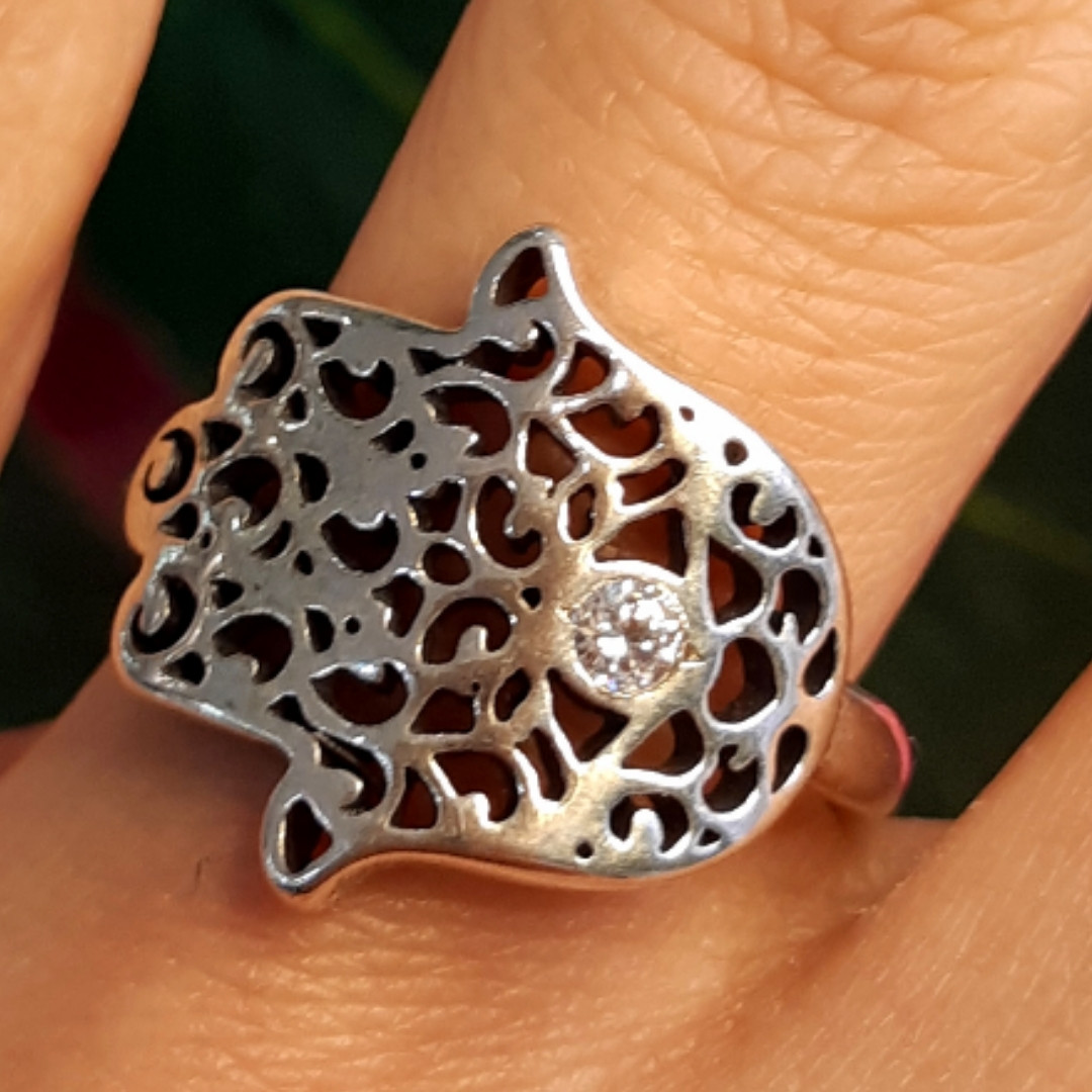 Серебряное кольцо Хамса - Кольцо рука Фатимы из серебра