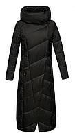 Пуховик Winter Legend длинный с капюшоном приталенный без меха черный
