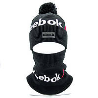 Зимний комплект шапка и бафф Черный