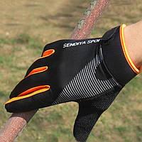Вело перчатки Sendiya Sport закрытые, черно-оранжевые, L, фото 1