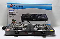 Электроплита Domotec MS-5802 электрическая плита настольная бытовая 2 конфорки для дачи, дома 2000Вт