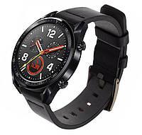 Кожаный ремешок Primo Classic для часов Huawei Watch GT / GT Active 46mm - Black, фото 1