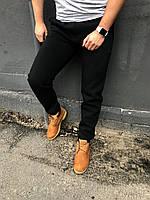 Теплые черные мужские спортивные штаны / Мужские спортивные брюки осень-зима