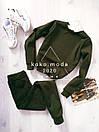 Теплый женский спортивный костюм трехнитка на флисе С-ка хаки, фото 7