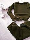 Теплый женский спортивный костюм трехнитка на флисе С-ка хаки, фото 5