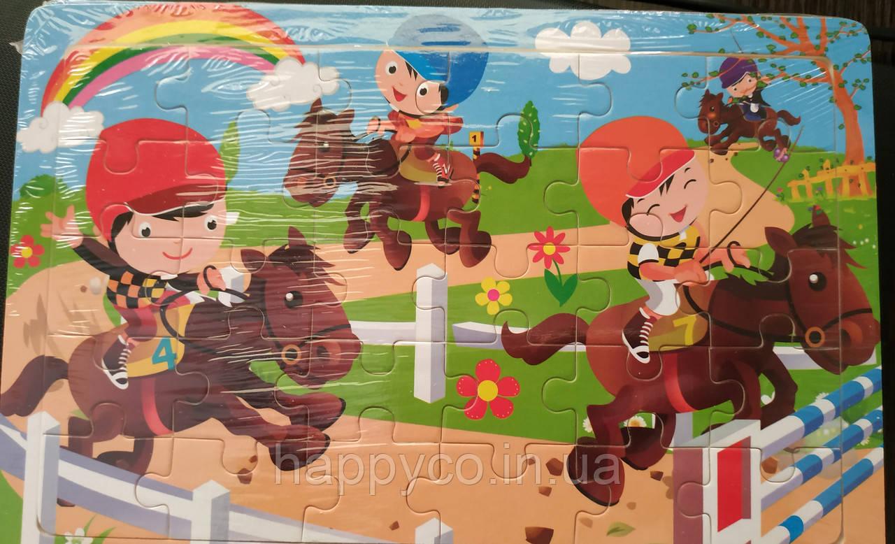 Пазлы деревянные 30 эл. лошадки, детская развивающая игра
