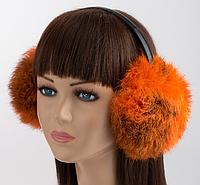 Теплые меховые наушники, натуральный мех, теплые ушки (оранжевый/черный)