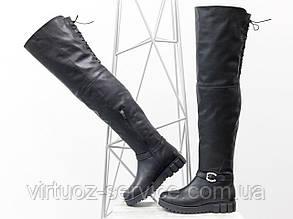 Ботфорты Gino Figini М-17084-08 из натуральной кожи 38 Черные