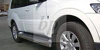 Защита оригинальных порогов (подпорожники) Mitsubishi pajero wagon IV (митсубиси паджеро вагон 4) 2005г+