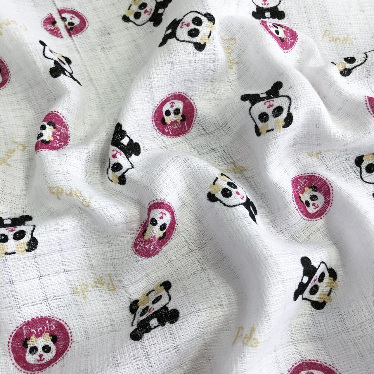 """Ткань хлопковая, муслин однослойный """"Панды мелкие на белом"""""""