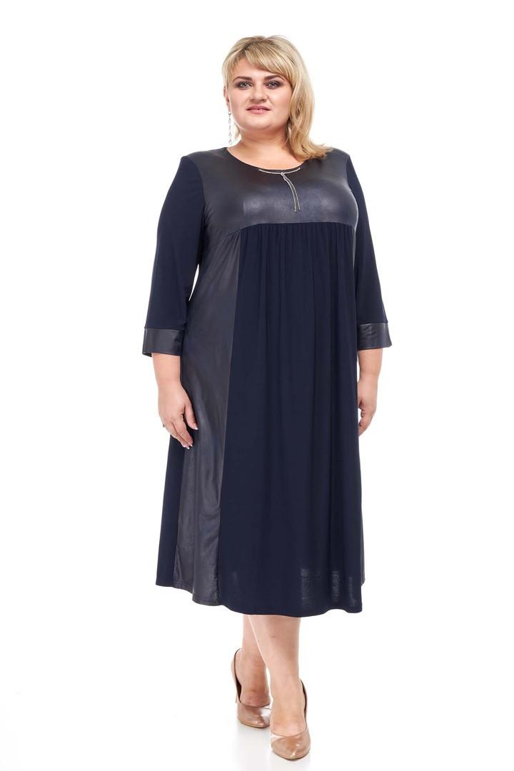 Модное женское платье батал Индира синий (58-72)
