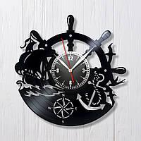 Корабль часы Подарок для моряка Штурман Море и волны Морская тематика Кварцовые часы Безшумный механизм 300 мм