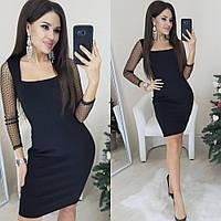 Платье женское повседневное, короткое, ровное,стильное, модное, вечернее, с декольте, рукав сетка в горошек, фото 1