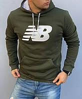 Теплая мужская толстовка New Balance (Нью Бэлэнс) хаки, худи с капюшоном, кофта, кенгурушка / ОСЕНЬ-ЗИМА