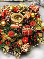 Рождественский венок с гирляндой от батареек «Яркие моменты», фото 1