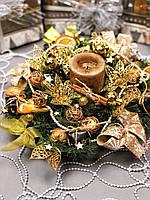 Новогодний веночек с гирляндой от батареек «Золотое трио», фото 1