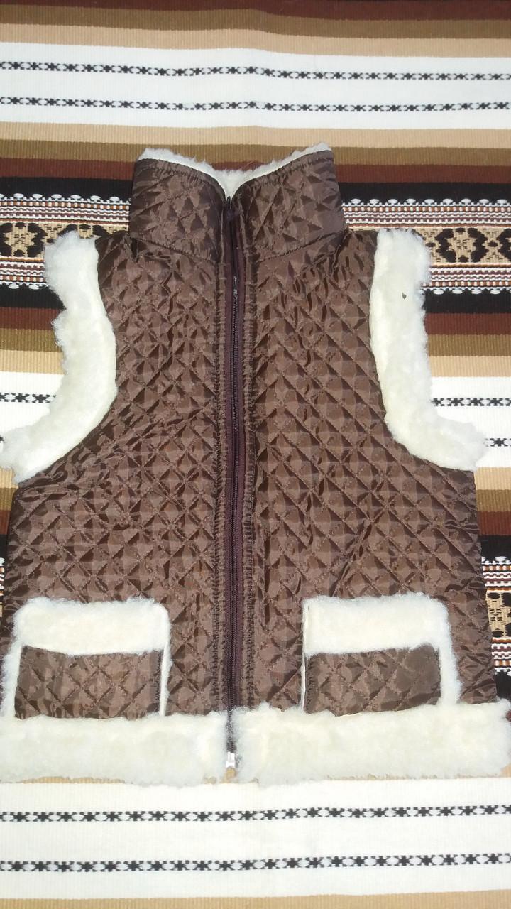 Тепла дитяча жилетка із овчини на замочку, коричневого кольору