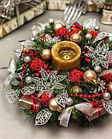 Новогодний  и рождественский веночек с гирляндой от батареек «Утренний», фото 1