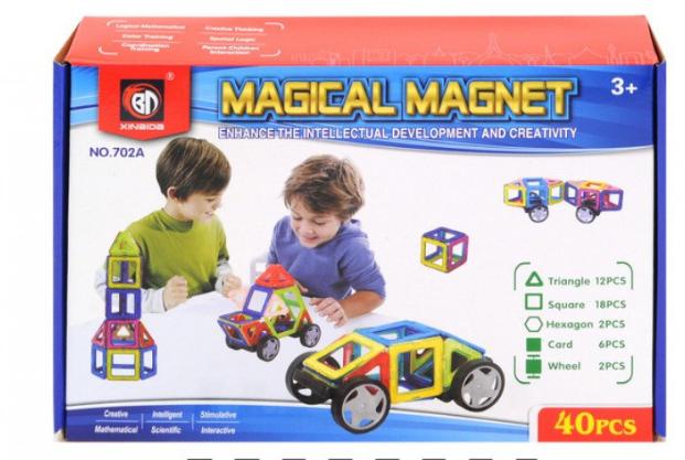 Магнітний конструктор Magical Magnet з колесами, 702А 40 деталей