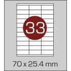 Этикетка А4 (33 шт на листе) 70,5х25,4мм