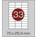 Этикетка самоклеящаяся А4 (33 шт на листе) 70,5х25,4мм