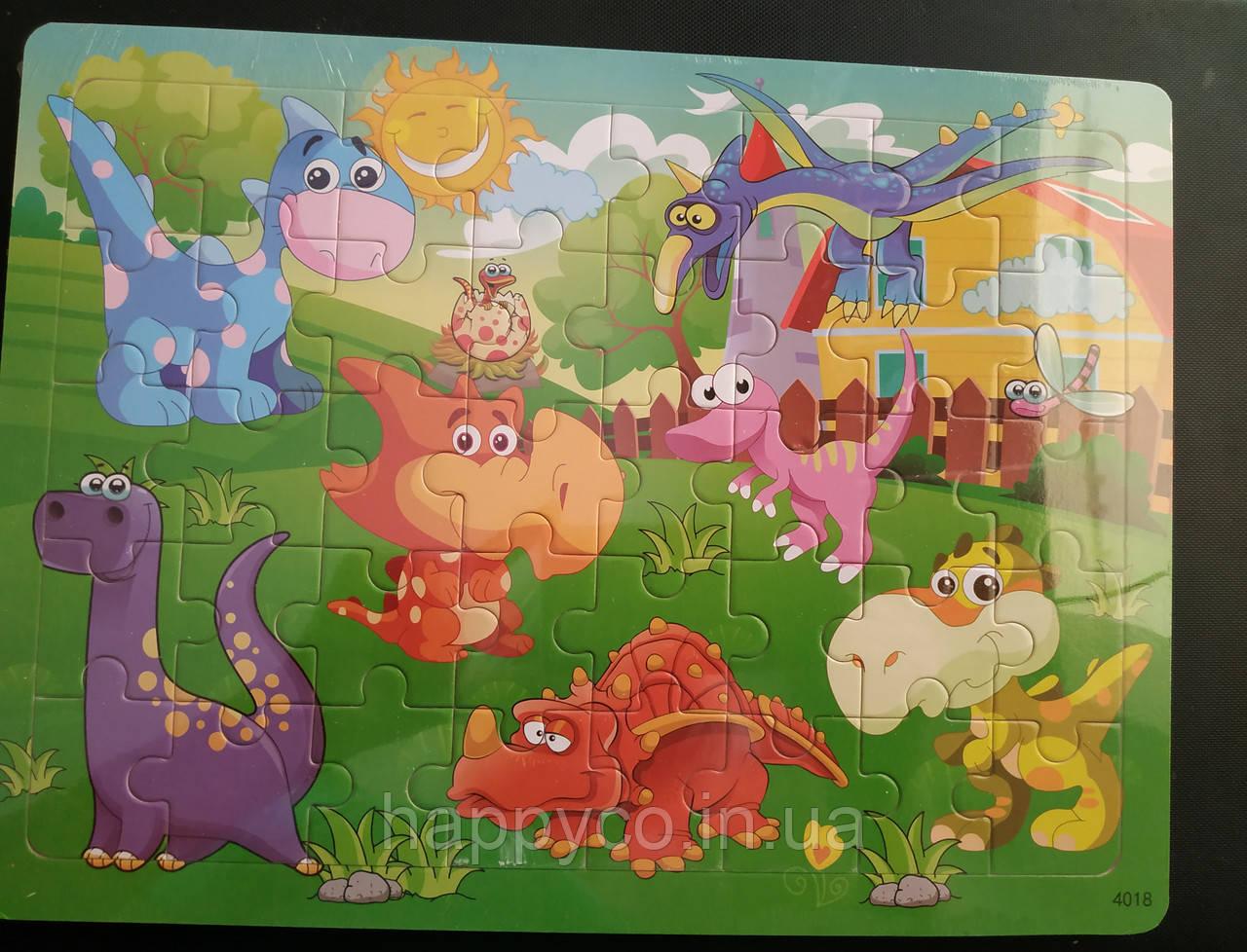 Пазлы детские деревянные 40 эл. динозавры