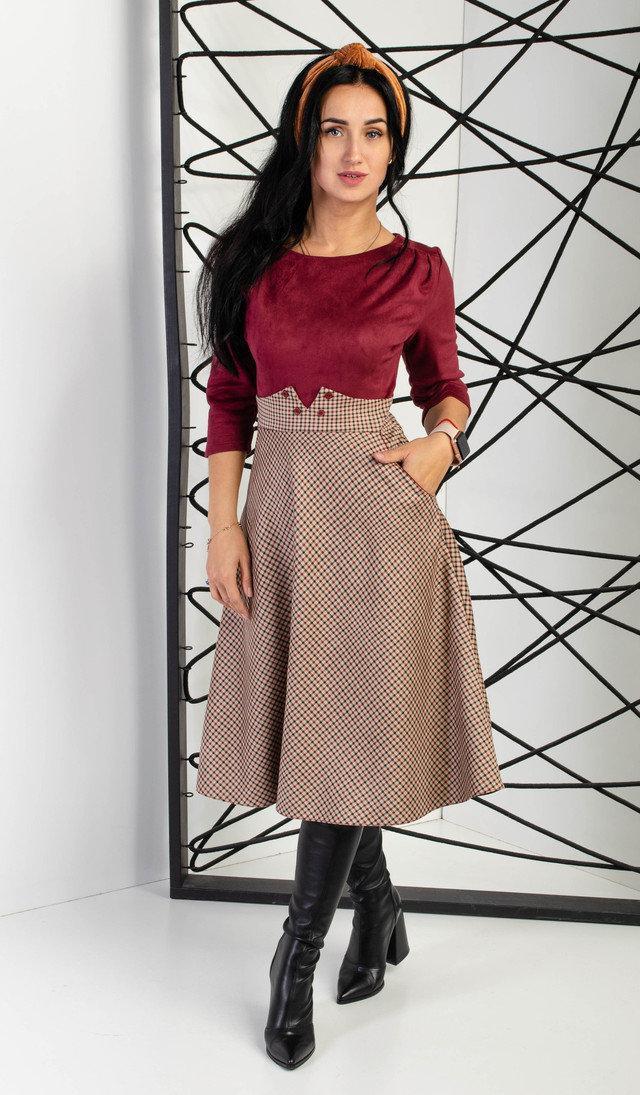 Комбинированное женское платье, бордовый с клеткой