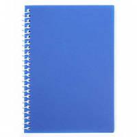 Блокнот А6 на боковой спирали, пластиковая обложка синий