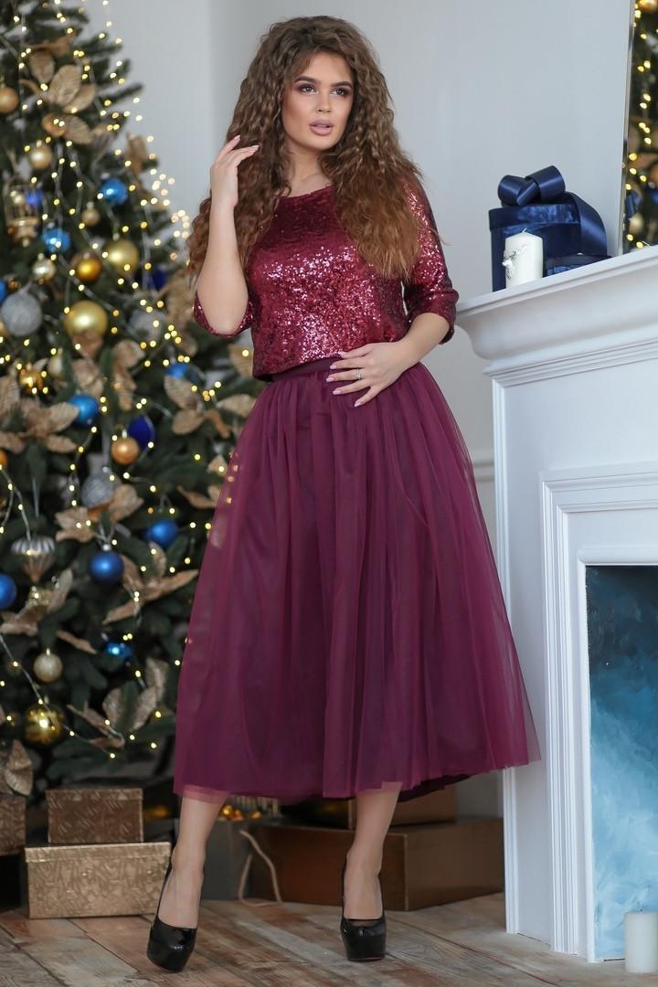 Красивое женское платье верх из пайетки и пышная юбка из евро сетки  42, 44
