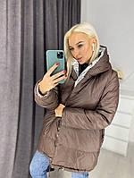 Женская  модная зимняя двухсторонняя куртка на синтепоне
