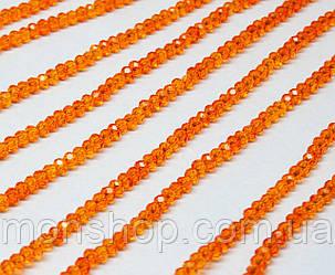 Кришталеві намистини (Рондель) 2х2мм, колір - помаранчевий прозорий