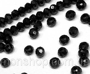 Кришталеві намистини (Рондель) 2х2мм, колір - чорний непрозорий глянець