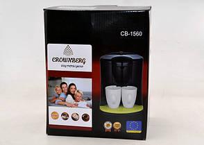 Кофеварка Crownberg CB-1560 и 2 чашки, фото 2